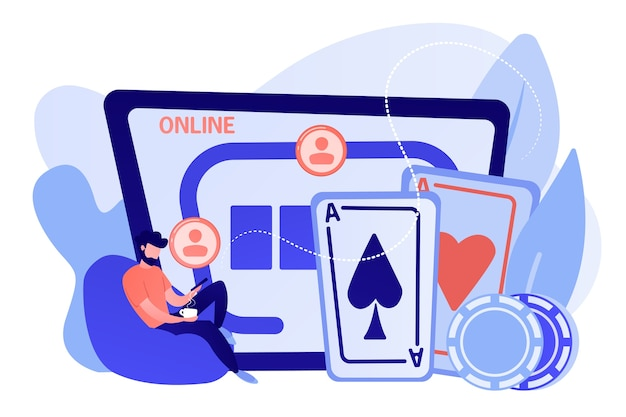 Businessman with smartphone playing poker online and casino table with cards and chips. online poker, internet gambling, online casino rooms concept. pinkish coral bluevector isolated illustration Free Vector
