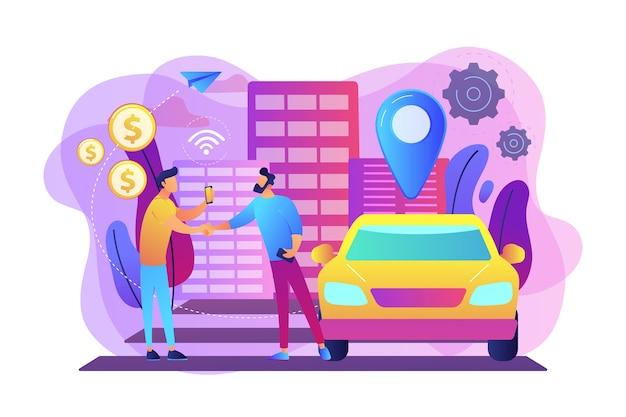 スマートフォンを持っているビジネスマンは、カーシェアリングサービスを介して路上で車を借ります。カーシェアリングサービス、短期賃貸、最高のタクシー代替コンセプト。明るく鮮やかな紫の孤立したイラスト 無料ベクター