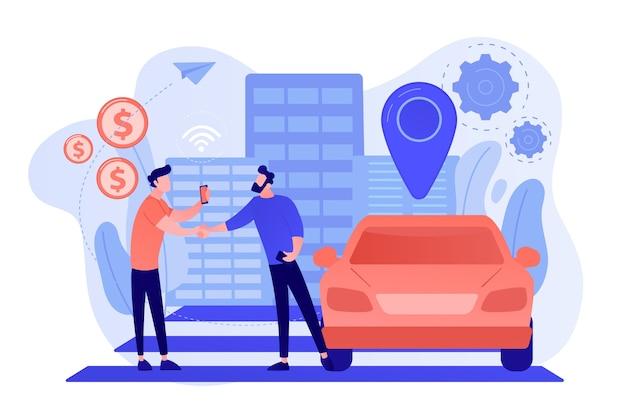 スマートフォンを持っているビジネスマンは、カーシェアリングサービスを介して路上で車を借ります。カーシェアリングサービス、短期賃貸、最高のタクシー代替コンセプト 無料ベクター