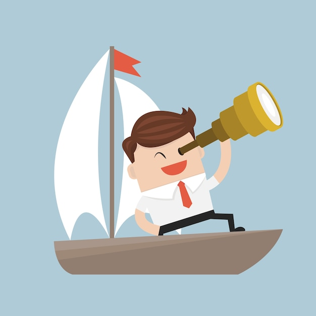 Businessman with a spyglass on a boat. Premium Vector