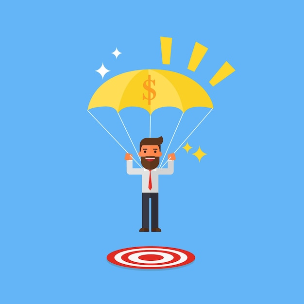 Businessman with success focused on a target Premium Vector