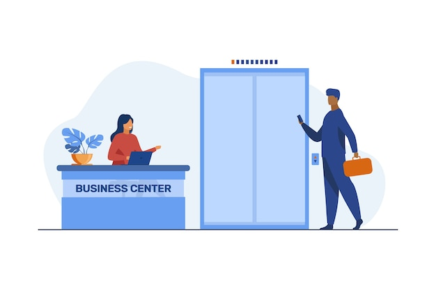 Businessman with suitcase coming to business center. reception, job, occupation flat illustration. Free Vector
