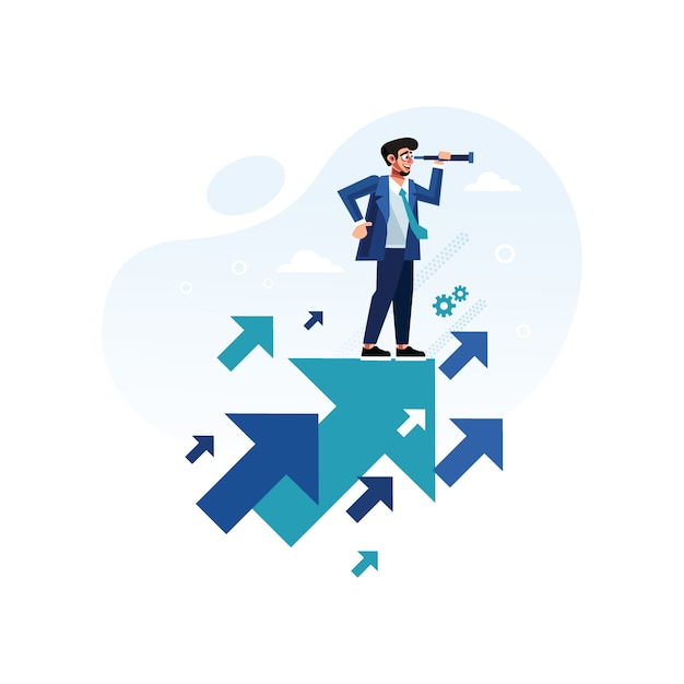 Businessman with telescope standing on growth arrow Premium Vector