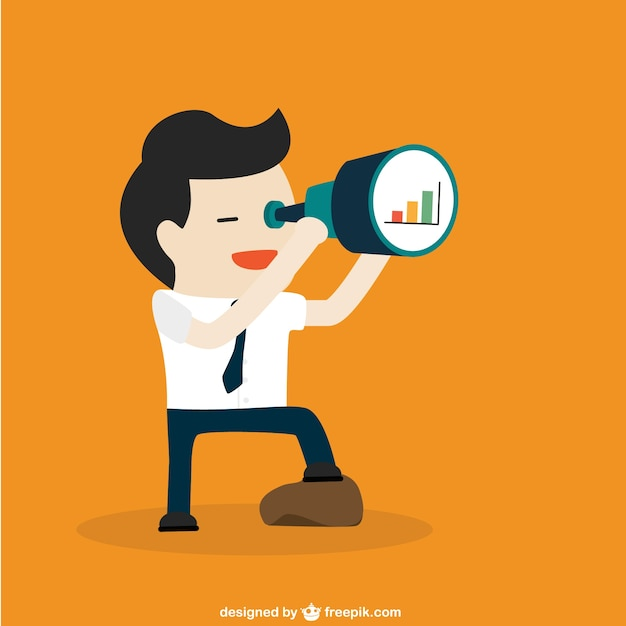 Character Design Career Path : Businessman with telescope vector free download