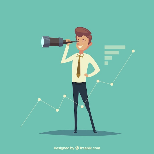 Businessman with telescope Free Vector