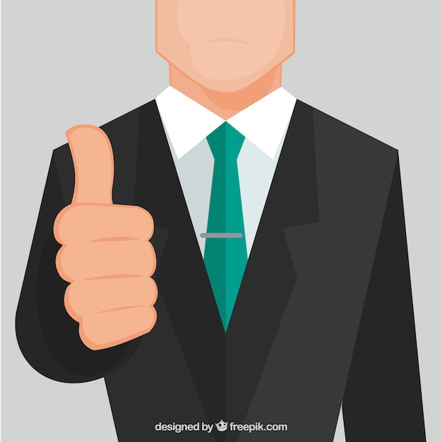 Businessman with thumb up Free Vector
