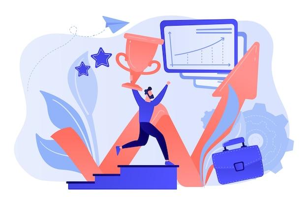 Бизнесмен с трофеем бежит вверх по лестнице и диаграмме роста. успех в бизнесе, лидерство, бизнес-активы и концепция планирования на белом фоне. Бесплатные векторы