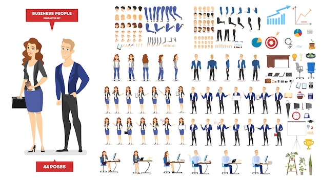 Businessman and woman character in suit set for animation with various views Premium Vector