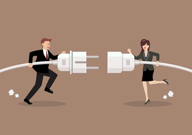 Businessman and woman connecting hold plug and outlet in hand Premium Vector