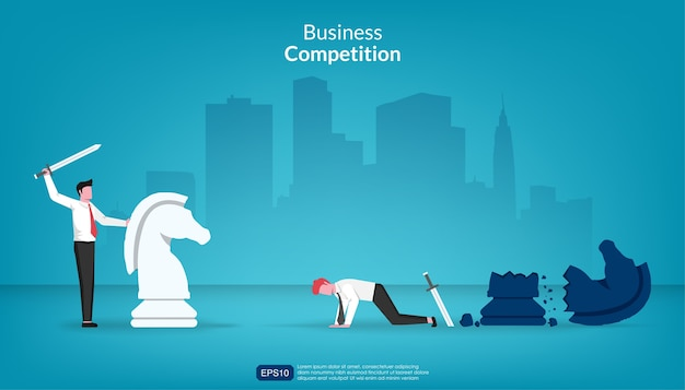 Businessman won against another in fight concept. Premium Vector
