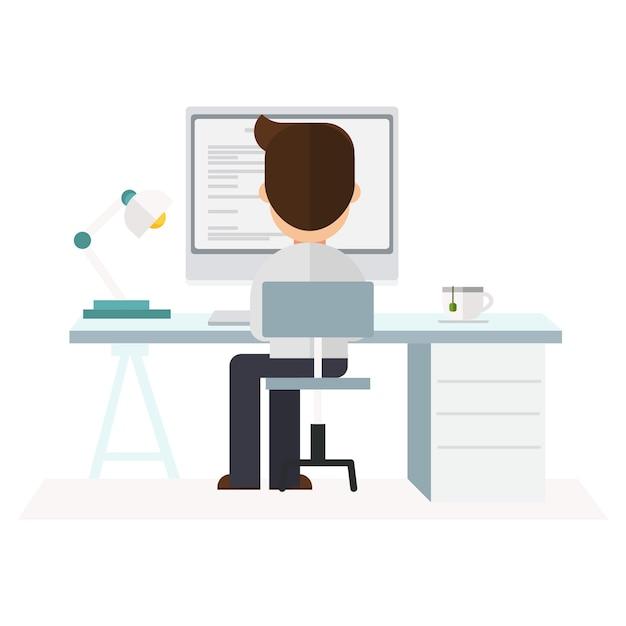 Businessman working at office Premium Vector
