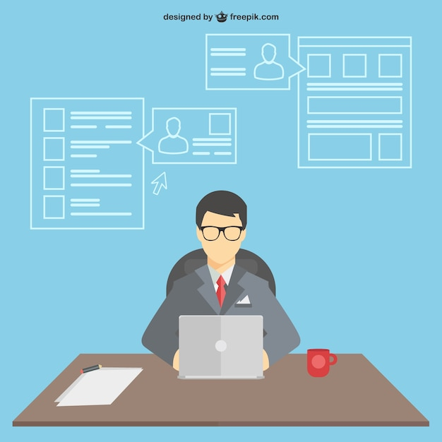 Businessman working in his desk  Free Vector