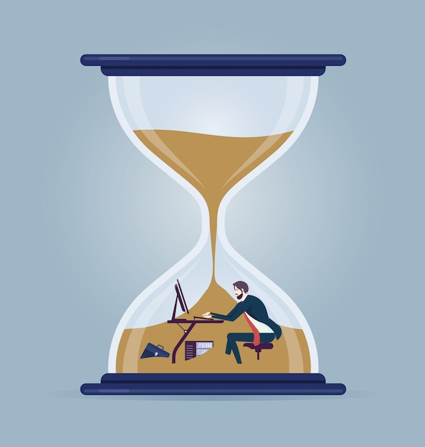 Businessman working inside a hourglass Premium Vector