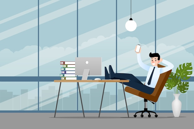 Businessman working in the office with his smartphone. Premium Vector