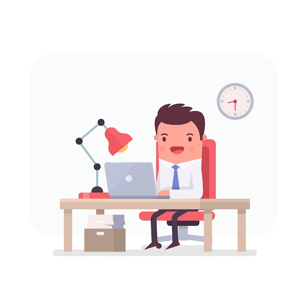 Businessman working in an office Free Vector