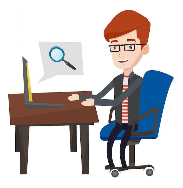 Бизнесмен работает на своем ноутбуке. Premium векторы