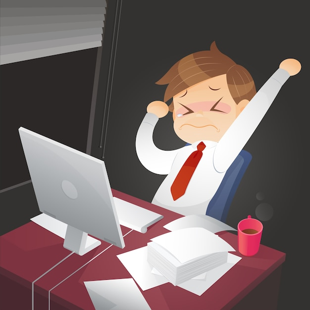 Businessman working overtime late night. Premium Vector