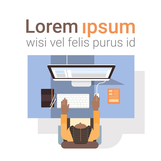 Businessman workplace desk hands working laptop computer top angle view office Premium Vector