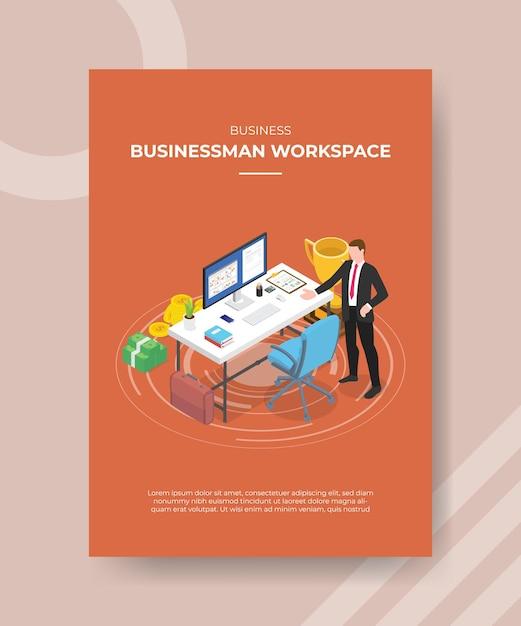 Концепция рабочего пространства бизнесмена Бесплатные векторы