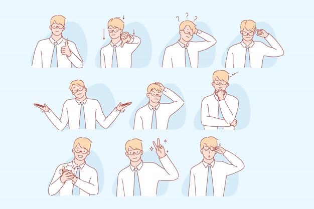 Businessmans gestures and facial expresion set concept Premium Vector