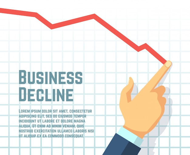 Businessmans hand drawing decrease graph. Premium Vector