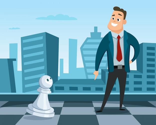 チェス盤の上のbusinessmantanding Premiumベクター