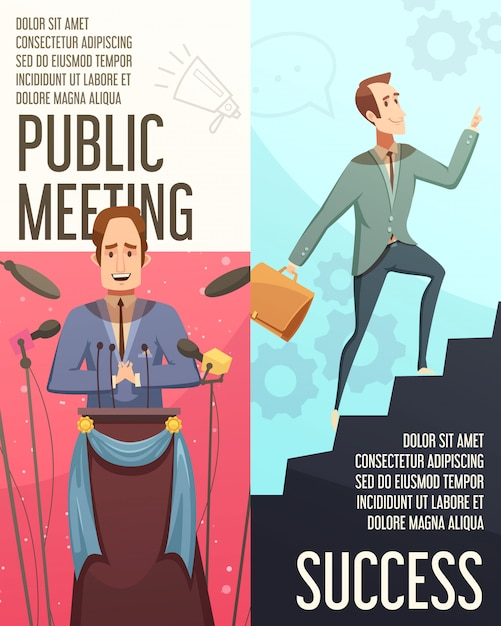 Businessmeeting vertical banners set with public meeting symbols cartoon isolated vector illustration Free Vector