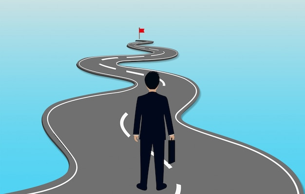 Businessmen are walking on a winding road Premium Vector