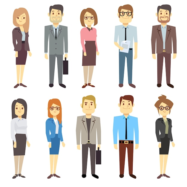 Businessmen businesswomen employee vector people characters various business outfits. man and woman, Premium Vector