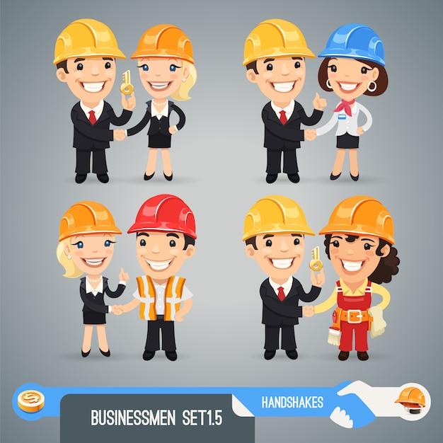 Businessmen cartoon characters set Premium Vector