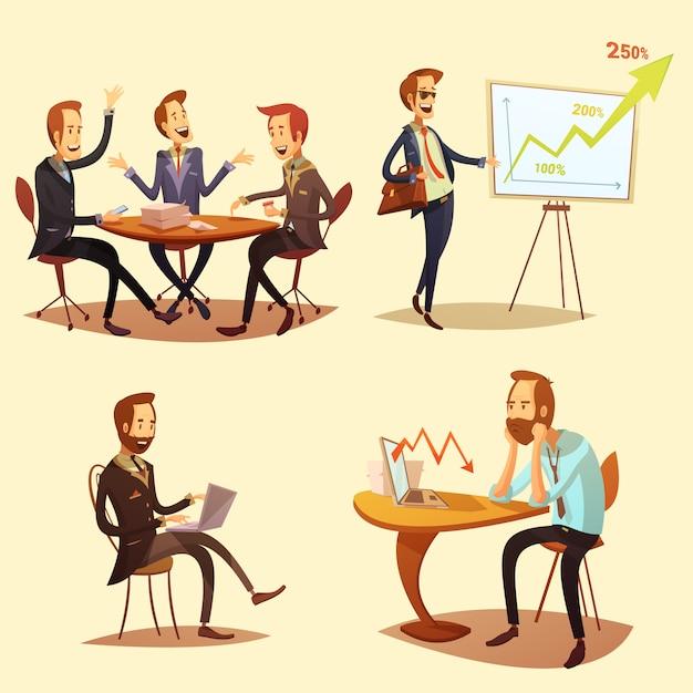 Businessmen cartoon icons set with profit symbols on yellow background Free Vector