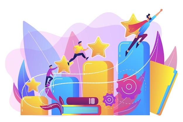 Бизнесмены поднимаются вверх по столбцу графа роста. карьера и развитие личности, карьерный рост, концепция прогресса планирования карьеры Бесплатные векторы