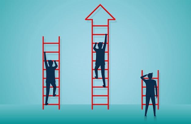 目標に階段を登るビジネスマン Premiumベクター