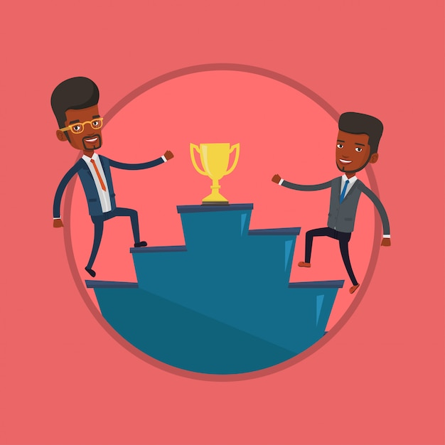 Businessmen competing for the business award. Premium Vector