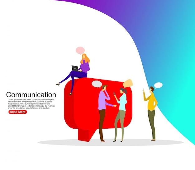 Businessmen discuss social network, news, social networks, chat, dialogue. template Premium Vector