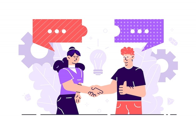 ビジネスマンは、ソーシャルネットワーク、ニュース、ソーシャルネットワーク、チャット、ダイアログ、吹き出し、思考パズルについて話し合います。図 Premiumベクター