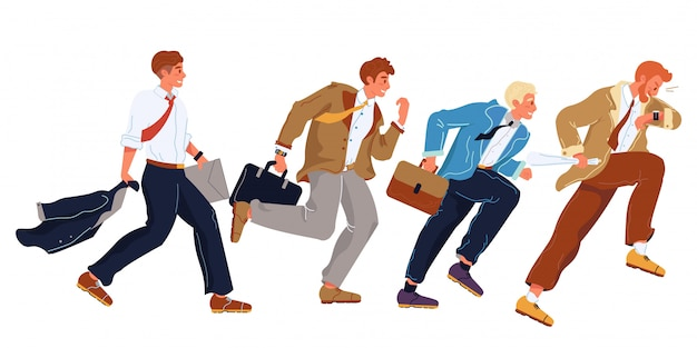 Businessmen in formal suits hurry up, running in row. office workers, employees, managers trying to overtake each others, be first. careerism, social climbing, place hunting vector flat illustration. Premium Vector