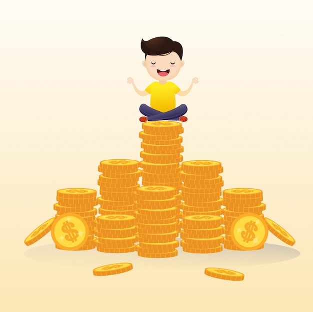 Businessmen hung in the air meditating on cash. Premium Vector