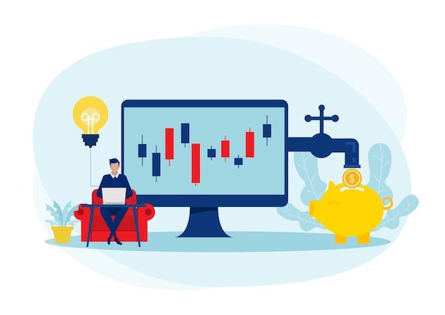 ビジネスマンは矢印で株式市場を投資する収入利益パッシブ収入の概念、イラストを育てます。 Premiumベクター