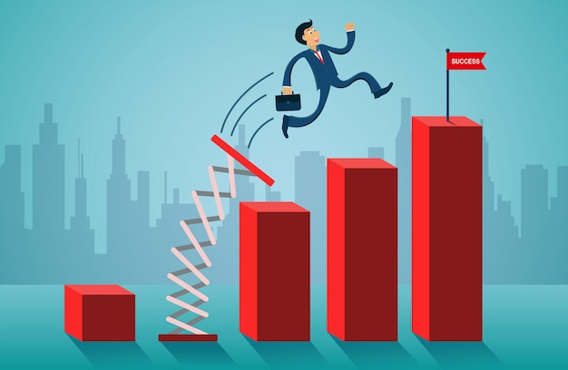 Businessmen jumping from springboard go to flag red on bar graph. Premium Vector