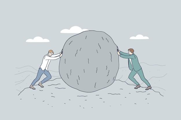 기업인 또는 정치인 만화 캐릭터가 서로에 대해 거대한 돌을 밀고 프리미엄 벡터