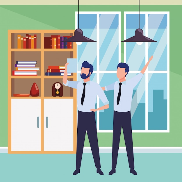 Businessmen partners with documents Free Vector