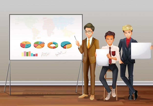 Businessmen and presentation charts Free Vector