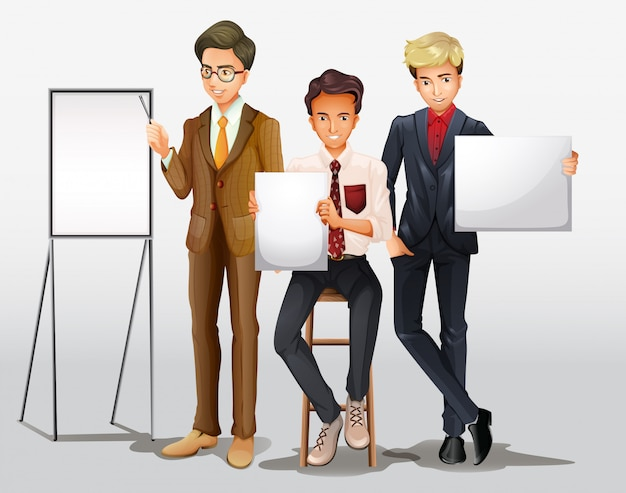 Businessmen presenting with signs Free Vector