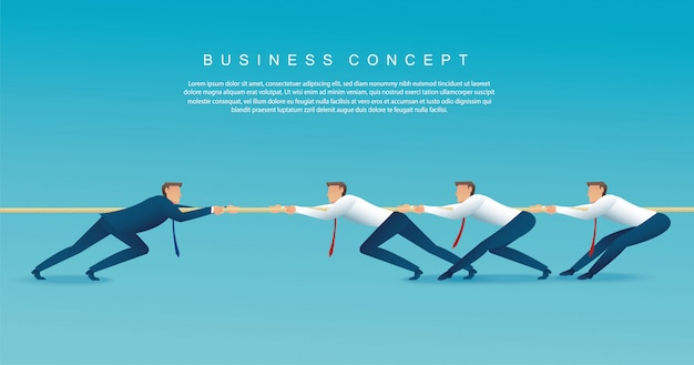 Businessmen pull the rope. tug of war concept Premium Vector