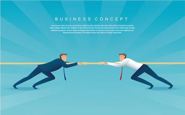 Businessmen pull the rope. tug of war Premium Vector