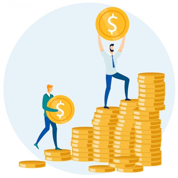 Businessmen putting money coins in pile cartoon Premium Vector