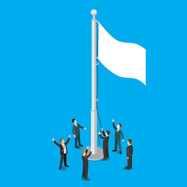 Бизнесмены поднимают белый пустой флаг на плоской изометрии флагштока Бесплатные векторы