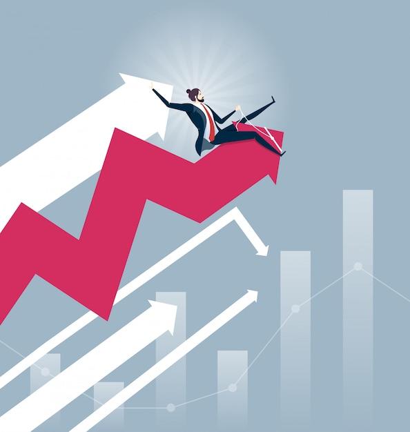 Businessmen rodeo chart - stock market concept vector Premium Vector
