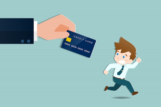 Businessmen run away a large hands holding a credit card. Premium Vector